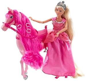Gueydon Jouets SAS 800500 - Muñeca Steffi y figurita de Caballo, Color Rosa
