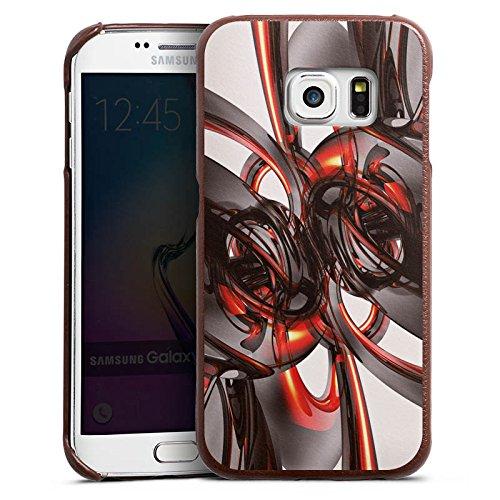 DeinDesign Samsung Galaxy S6 Edge Lederhülle braun Leder Case Leder Handyhülle Strudel Lack Paint (Edge Leder Lack)