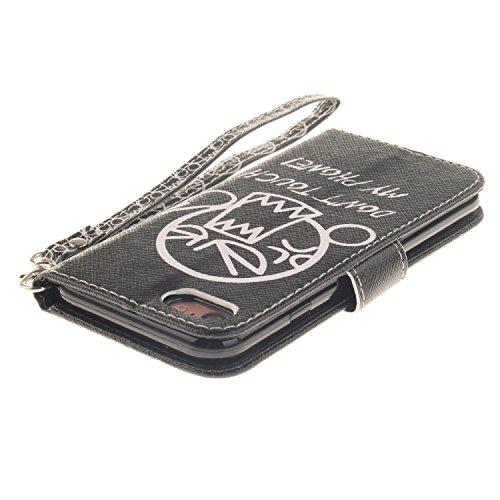 Für iPhone 7 Full Body Schutz Tasche Case Hülle,Für iPhone 7 Bookstyle Strap Lanyard Wallet Flip Schutzhülle Zubehör Handytasche Brieftasche,Funyye Einzigartig Jahrgang [Retro Blume Muster] Handytasch Berühren Sie nicht meinen Telefon