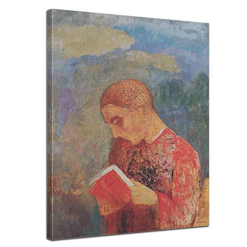 Leinwandbild Odilon Redon Mönch Lesung - 90x120cm hochkant - Keilrahmenbild Bild auf Leinwand Gemälde
