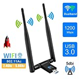 EasyULT Adattatore Antenna WiFi USB 3.0 1200Mbps, Staccabile Antenna Ricevitore Dual Band (5G/867Mbps+2.4G/300Mbps) Chiavetta WiFi Antenna 5dBi per PC/Windows 10/8/7/ Vista/XP/Linux/Mac OS