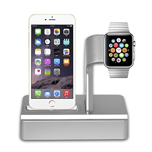Apple Watch Stand iPhone Ladestation Station Halter 2 in 1 Telefon Desktop Tablet Stand mit Blitz Kabel für Apple Watch Series IPhone 7/7 Plus / 6S / 6S Plus / IPad (Iphone-apple Watch)