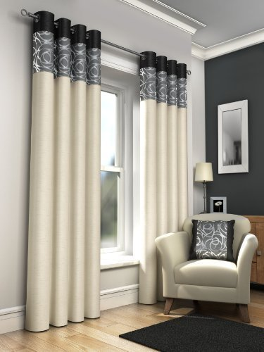 "ONE PAIR OF FAUX SILK FULLY LINED EYELET CURTAINS 90"" X 72"" APPROX. FOIL PRINT CREAM WITH BLACK GREY AND SILVER"