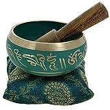 Canto cuenco budista arte verde decoración tibetana Yoga y Meditación, Chakra Curación y meditación cuenco 4Inch