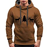 ZIYOU Merry Christmas Herren Hoodie Pullover Herbst Winter Warm Casual Sport Streetwear Long Sleeve T-Shirts Tops Weihnachten Sweatshirt Outwear (XL,Braun)