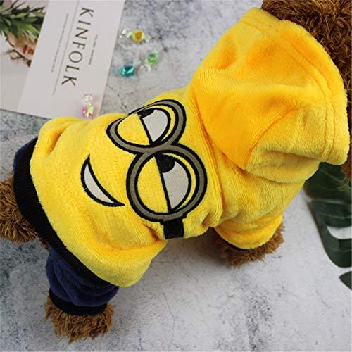 ZFFLYH Dog Hoodies Kleidung, Herbst und Winter Haustierkleidung Puppy Cat Cute Cartoon Vierbeinige Warme Hoodies Kleidung Mantel,Yellow,S -