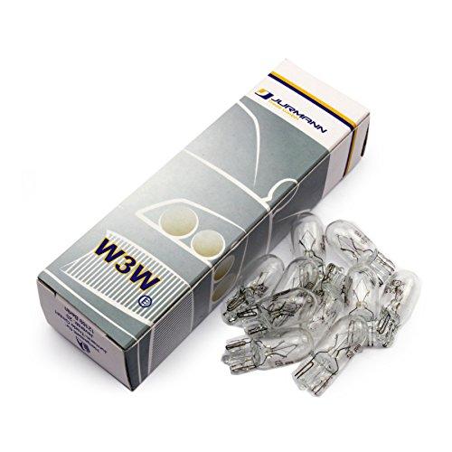 10x Stück Jurmann® 12V 3W W2.1 x 9.5d W3W T10 * WERKSTATTWARE * Halogen Lampen Autolampen KFZ-Beleuchtung Birne NEU