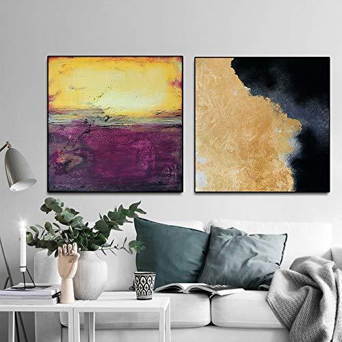 Yhyxll Cuadrado Paisaje Abstracto Pared Arte Cuadros Lienzo Pintura al óleo Lienzo Carteles para Sala...