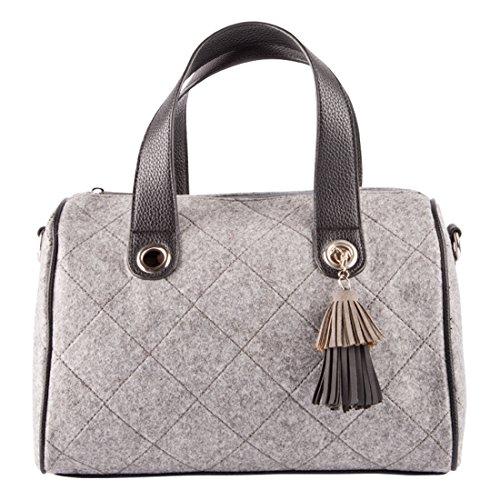 LALU' Damen Kloe Bowling-Tasche, Grau, 15x22x33 cm