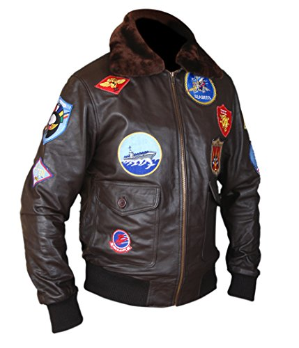 F&H Men's Top Gun Pete Maverick Tom Cruise Flight Bomber Jacket XL Brown -