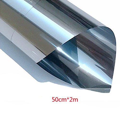 Película de espejo para ventana de Tookie, ideal para obtener más privacidad en tu coche y hogar, aislante de calor, adhesivo decorativo para ventana, protector solar, Platinum Gray, 50cm*2