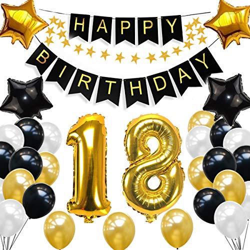 SANCUANYI Geburtstag Dekoration Schwarzes Gold, Happy Birthday Party Ballons Banner für Mädchen und Jungen