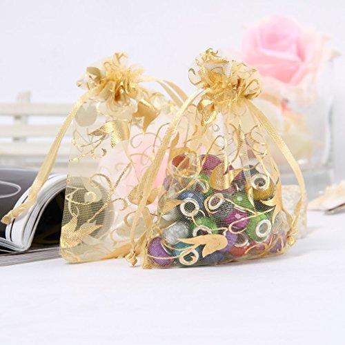 La Vogue 50PCS 7*9CM Sacs Pochettes Organza Doré Fleurs Cordon Coulissant de Serrage Bijoux Cadeaux Bonbon Mariage Fête Cotillons Boutiques Vente Doré Fleurs