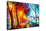 City By The Lake von Leonid Afremov Ölgemälde Abstrakt Nachdruck gerahmt Wall Art Bilder auf Leinwand Prints, canvas, 06- A0 - 40