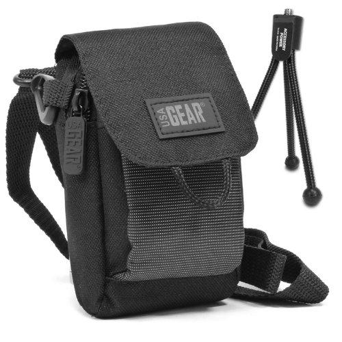 Kompakte Digitalkamera Tasche Zip Tasche Holster Pouch mit Mini-Stativ, verstellbaren Schultergurt & Carry Gürtelschlaufe - für Panasonic Lumix, Canon IXUS, Sony, PowerLead, Samsung & More Digitalkameras - von USA Gear