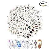 AIUIN 40 Piezas Pegatina de Uñas Una Variedad de Patrones de Tendencia de Impresión en Color Guías de Clavar Tip Pegatinas Conjunto con Uñas de Manicura