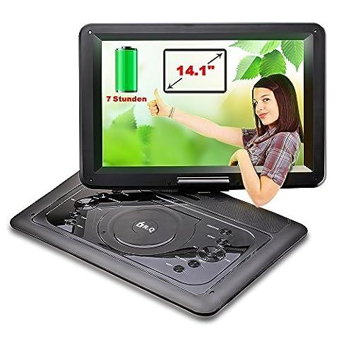 """14.1"""" tragbarer DVD-Player, 6000mAh 7 Stunden Spielzeit Akku, 1.8m Autoladegerät und Netzkabel, 270 Grad drehbares HD Display, Videogeräte für Kopfstützen von DR.Q, multi Medienformaten Unterstützung, unterstützt SD Karte und USB, Schwarz."""