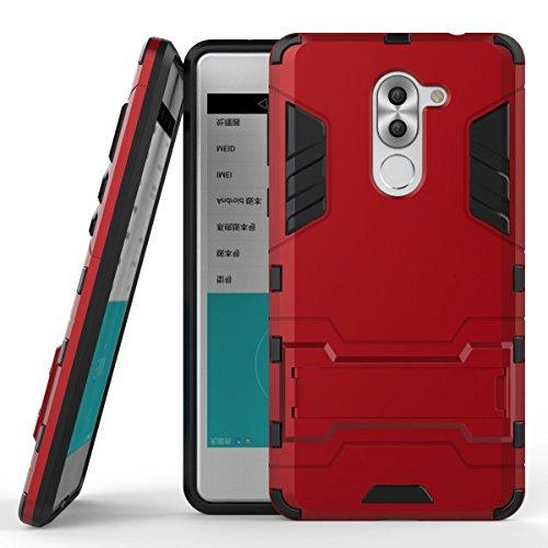 Funda para Huawei Mate 9 Lite / Honor 6X (5,5 Pulgadas) 2 en 1 Híbrida Rugged Armor Case Choque Absorción Protección Dual Layer Bumper Carcasa con pata de Cabra (Rojo)
