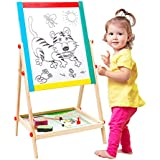 Arkmiido Age 1-3 Kids Wooden Easel Small Size,Double-Sided Blackboard and Whiteboard, Height Adjustable Drawing Board for Kid