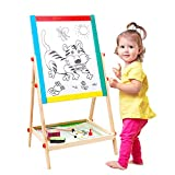 Arkmiido Age 1-3 Kids Wooden Easel Small Size,Double-Sided Blackboard and Whiteboard, Height Adjustable