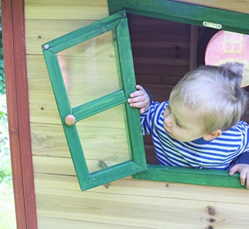 Redwood Lodge Childrens Wooden Playhouse, Painted Garden Crooked Wendy Play House opening window