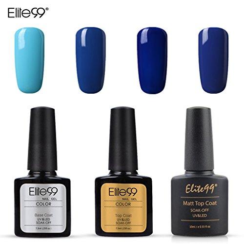 Elite99 Semi-permanenter Nagellack, 4er-Set, Nagellack, blau, mit Topcoat, Basislack, matt–Nagellack für LED, UV, SoakOff, Maniküre-Set, Nail Art, 10ml
