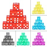 Manyo 10pcs 6 Seitige Transparent Würfel, leicht und tragbar, perfekt für Brettspiel, Club und Bar Spiel Tool, Familienspiel, Math Teaching. (Rot)