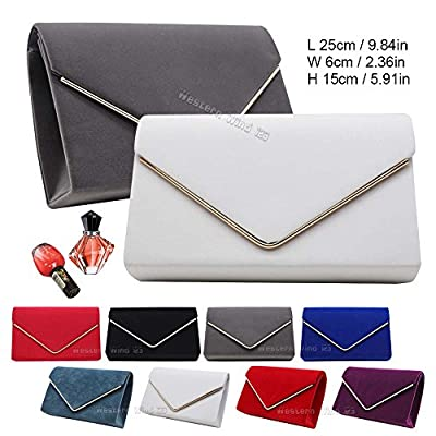 Wocharm Ladies Lavish Envelope Suede Velvet Womens Party Prom Wedding Clutch Bag Purse Bag Shoulder Handbag