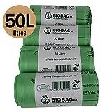 50 Litre x 100 bags Biobag Compostable Kitchen Bin Liners - Food Waste Bin Liners - EN 13432 - Biobags 50L Swing-Bin Bags with Composting Guide