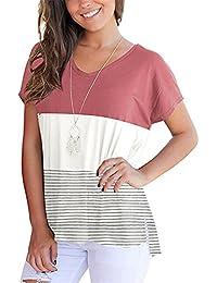 Manga Corta Escote Triangular en V Laterales Aberturas Rayas Stripe Bloque  de Color Algodón T-Shirt Camiseta Playera tee… 2446a4d4eaf4c