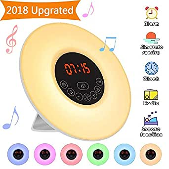 Wake Up Light,Elfeland Radio Alarm Clocks LED Bedside Lamp Touch Control Night Light Sunrise Sunset Simulator 6 Nature Sounds 7 Colors Changeable FM Snooze Brightness Adjustable Ideal for Bedroom Gift
