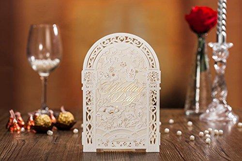 10x 3D Laser Cut Paravent Stil Romantische Hochzeit Einladung Karten in Farbe ivory elfenbein, inkl. passender Umschlag, blanko Einsatz Karte und Dichtung