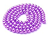 110 Lilac Purple Glass Imitation Pearl 8mm Round Beads One Strand J08902