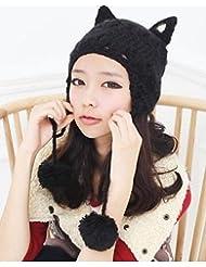 Sucastle Mujer Sombrero de Cazador Bonito / Casual-Otoño / Invierno-Punto , black-one-size , black-one-size