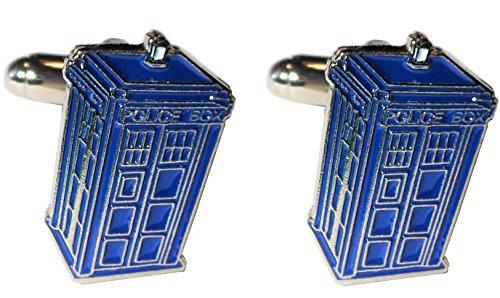 Doctor Who Tardis Time Machine Police Call Box Silber und Blau Metall Emaille Manschettenknöpfe