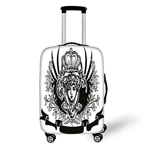 Travel Luggage Cover Suitcase Protector,Queen,Decorative Vintage Ornate Banner with Woman Portrait Historical Heraldic Royal Decorative,Black and White,for TravelM 23.6x31.8Inch - Spinner Banner