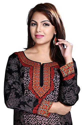 Maple Clothing India Kurti Top Tunica Donna Stampato Indiano Abbigliamento Nero
