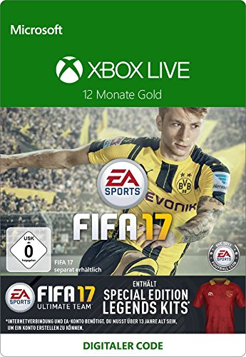 Xbox Code Live 1 Monat (Xbox Live - Gold-Mitgliedschaft 12 Monate mit FIFA 17 Special Edition Legends Kits DLC [Xbox Live Online Code])