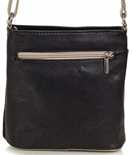 Taschenloft kleine Damen Umhängetasche I Schultertasche aus Leder (18 x 19 x 7 cm) Schwarz / Taupe