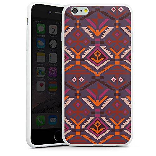 Apple iPhone X Silikon Hülle Case Schutzhülle Ethno Herbst Azteken Muster Silikon Case weiß