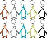 munkees 10x Schlüsselanhänger Pinguin-Anhänger Figur Flaschenöffner, 10er Pack Mix 34300