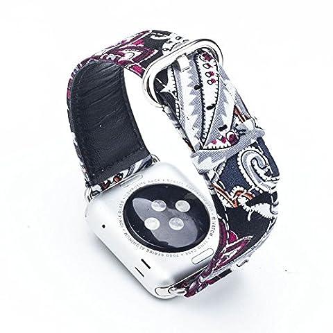 Apple Montre bande, Liqi National de style élégant de rechange Chiffon + Bracelet Véritable montre bracelet en acier inoxydable sangle avec boucle pour Apple & Sport & Edition (National style3), 38MM