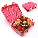 aohea Lunch Box 6 Fächer Bento Box mit Sicher Tritan Materialien Kinder auslaufsicher auch für Erwachsene geeignet rose