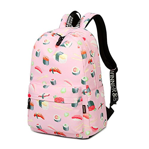 Joymoze Wasserdicht Süß Schule Rucksack für Jungen und Mädchen Leicht Schick Bedruckt Bücher Tasche Schwarz 844 Sushi