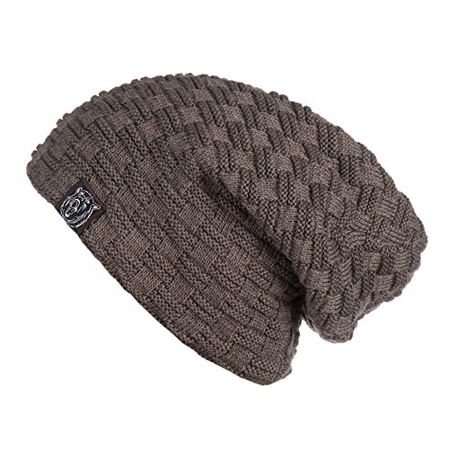ERIC YIAN Warme Long Slouch Beanie Grobstrick Feinstrick Mütze mit sehr weichem Fleece Innenfutter