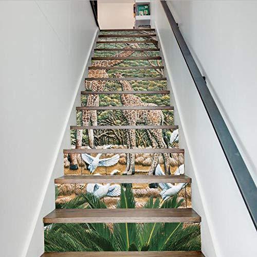 Giraffe 3D Treppe Aufkleber Wasserdicht Abnehmbare Selbstklebende Wand Boden Aufkleber Wandbilder Aufkleber Diy Wohnkultur 13 Teile/Satz 18 * 100 Cm