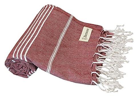 Bersuse 100% coton - Anatolia Serviette turque - Drap de bain, serviette de plage en Fouta Peshtemal - Pestemal rayé de manière classique - 95 X 175 cm, Bordeaux