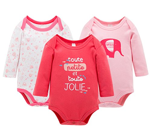 Happy Cherry Body Bodies de Algodón Mangas Largas Pijama Pack de 3 Piezas para Bebés Niñas Niños Recién Nacidos 0 - 3 Meses