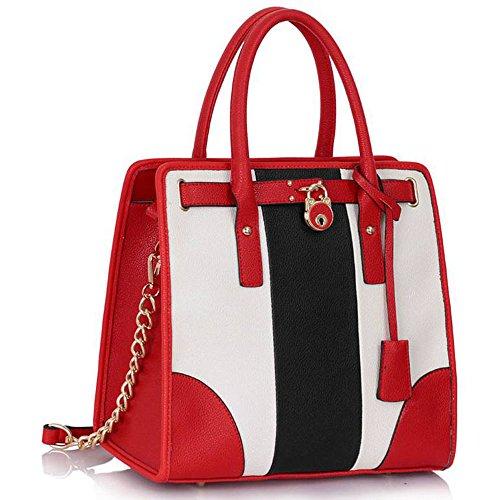 TrendStar Damen Shopper Handtasche Große Leder Womens Maxi-Tasche Tote-Schulter-Designer. Schwarz/Weiß/Rot