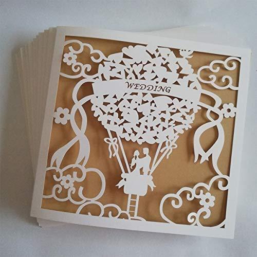 JinSu 20 Stück Hochzeit Einladungskarten, Laser Geschnittene Hochzeitsparty Einladungskarten mit Bedruckbaren Papier und Umschläge für Hochzeit Hochzeitstag (Nur für Hochzeiten)